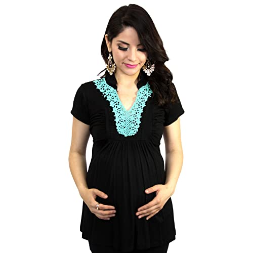 Blue Turquoise Embroidery Black Maternity Womens Short Sleeve Top