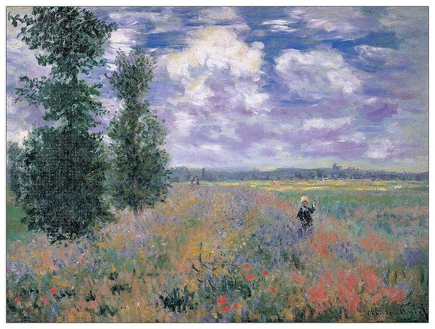 タイマー雨交通Artopweb絵画 Monet - Les Coquelicots Environs d'Argenteuil 装飾パネル, マルチカラー, サイズ: 80x60 Cm