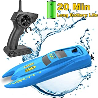 SZJJX RC Boat, Remote Control Boats for Pools and Lakes, 2.4 GHz Speed Boat with Long Battery Life, 10KM/H Racing Boat Toy...