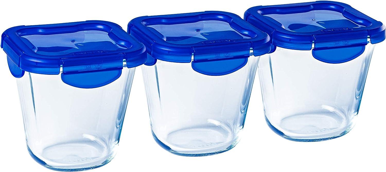 Pyrex® Cook & Go - Juego de 3 recipientes altos de cristal con tapas herméticas e impermeables, 0,8 l, sin BPA