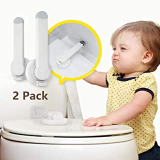 Baby Proofing Toilet Lock [2 Pack] Upgraded Gapless Pallet Mechanism for Child Safety, Universal Fit for Most Toilet Lid, Toolless 3M Adhesive Intallation with No Damage to Toilet.