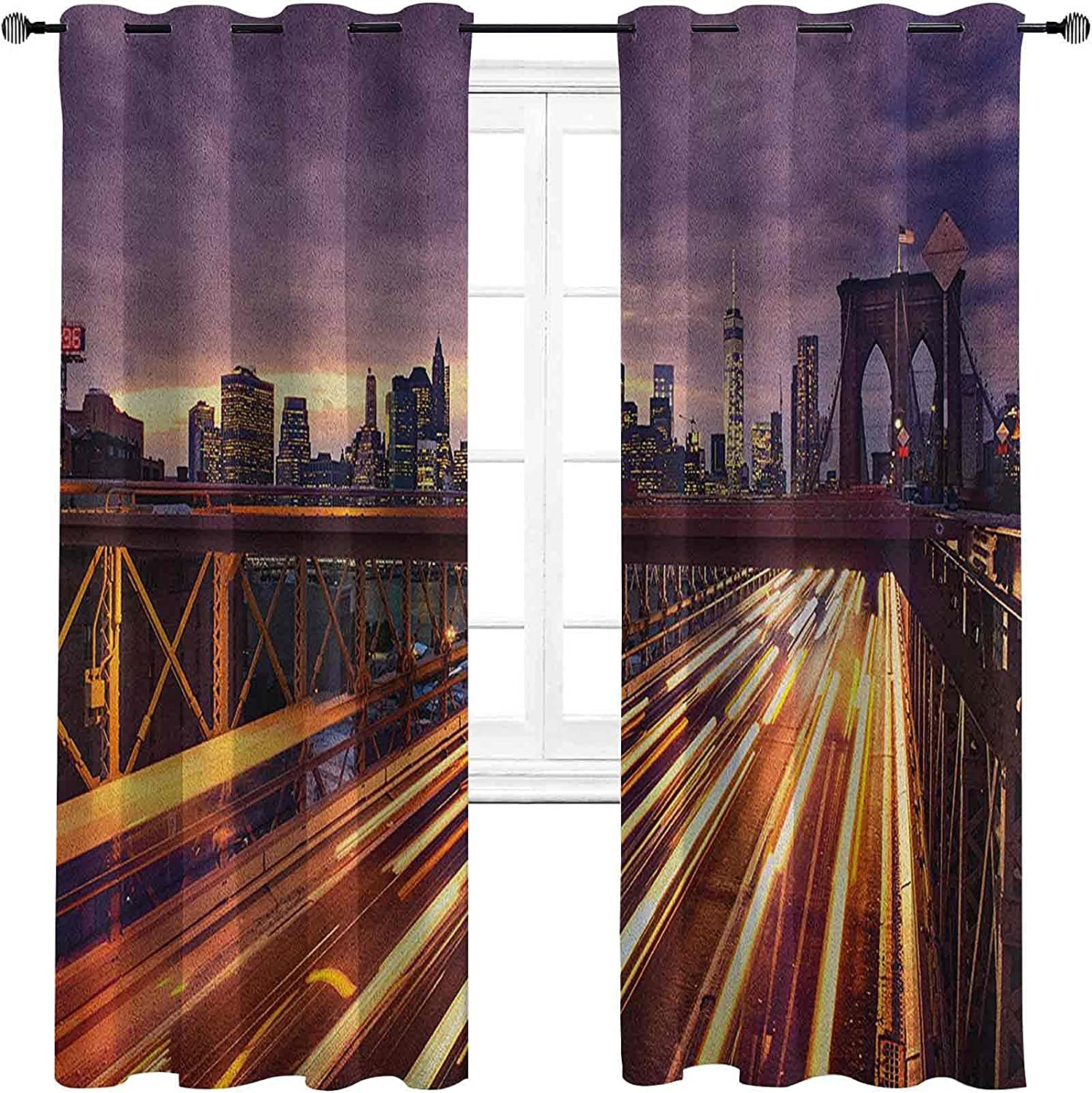 City A surprise Max 69% OFF price is realized 90%-99% Blackout Lining Curtain Brooklyn at Night C Bridge