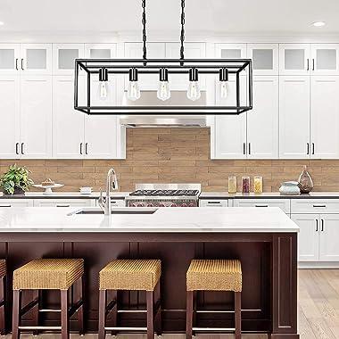 Black Farmhouse Kitchen Island Lighting Modern Linear Chandelier Industrial Dining Room Rectangular Light Fixtures for Living