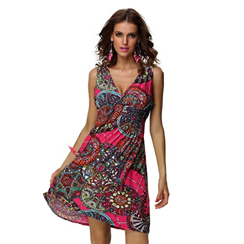 c075b5bffa3d jinhuanshow Women s Casual Low-Cut V-Neck Backless Printed Dresses
