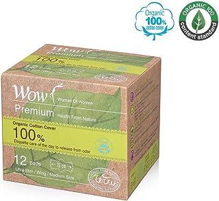 "WOW Premium 100% USDA Certified Organic Cotton Regular Medium Pads, Ultra Slim Natural Sanitary Napkins with Wings 9.8""(25cm) 12 Total for Sensitive Skin"