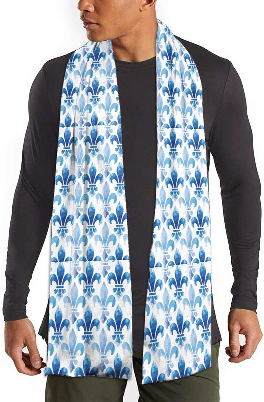 Womens Winter Scarf Fleur De Lis Blue Sea Wraps Warm Pashmina Shawls Gift Reversible Soft For Girls