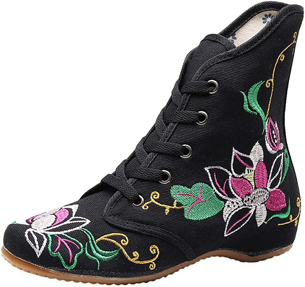 Vedolay Womens Boots Winter Clearance, Women Embroidered Ankle Bare Boots Sport Lace-Up Square Heel Short Booties