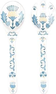 Les Jardins de la Comtesse - Couverts de Service en Mélamine Bleu/Beige - Couverts à Salade pour Saladiers du Service de T...