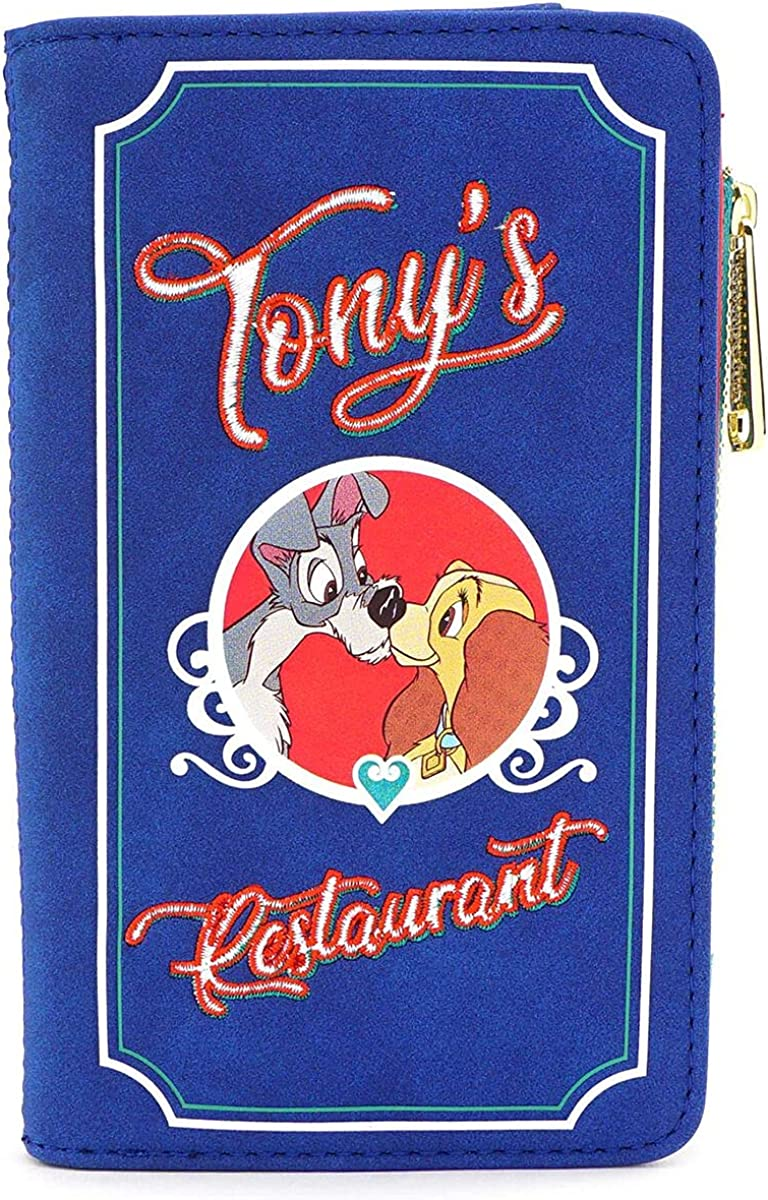 Loungefly x Disney Lady and the Tramp Tony's Menu Bi-Fold Wallet (Blue/Red, One Size) : Clothing, Shoes & Jewelry