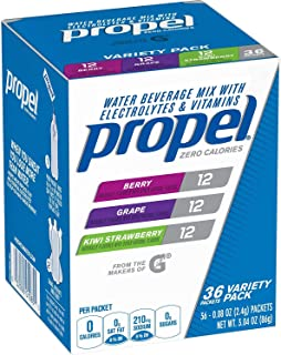Propel Powder Packets Berry,Grape,Kiwi Strawberry, With Electrolytes, Vitamins and No Sugar (72ct Variety Pack)