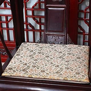 クラシック シルク 刺繍 ペイズリー パッド シートクッション, ジャカード 高級 スクエア チェアパッド クッション 屋内 屋外 椅子 座布団-v 45x38x3cm