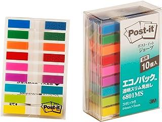 ポストイット 付箋 フィルム 見出し 9色 44x6mm 20枚×10冊 6801MS