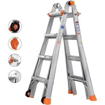 TACKLIFE Telescoping Ladder , 17 Feet Aluminum Extension Ladder with 2 Flexible Wheels, Safe Protective Switch, Non-Slip Rubber Feet, 300lb Capacity Multi-Use Ladder