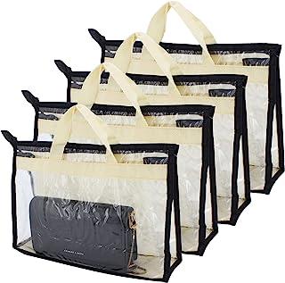 ShawFly Lot de 4 housses de rangement pour sac à main en PVC épais transparent anti-poussière Sac de rangement pour pendre...