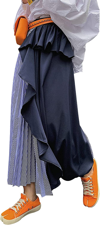 Arssm Women's Contrast Color Elastic Waist Pleated Falbala Irregular Striped Maxi Skirt