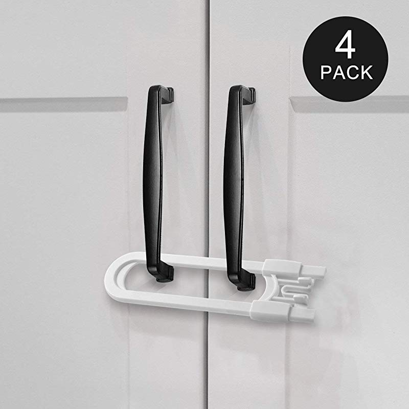 Adoric Sliding Cabinet Locks U Shaped Baby Safety Locks Childproof Cabinet Latch For Kitchen Bathroom Storage Doors Knobs And Handles 4 Pack White