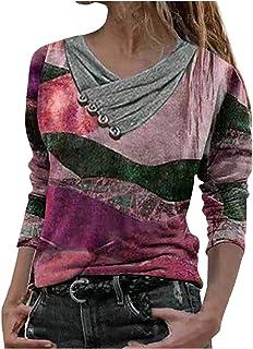 Tomwell Langarmshirt Damen Sweatshirt Mode Casual V-Ausschnitt Tops Frauen Katze Bedruckte Langarmshirt Pullover Lose Oberteile Bluse Basic T-Shirt