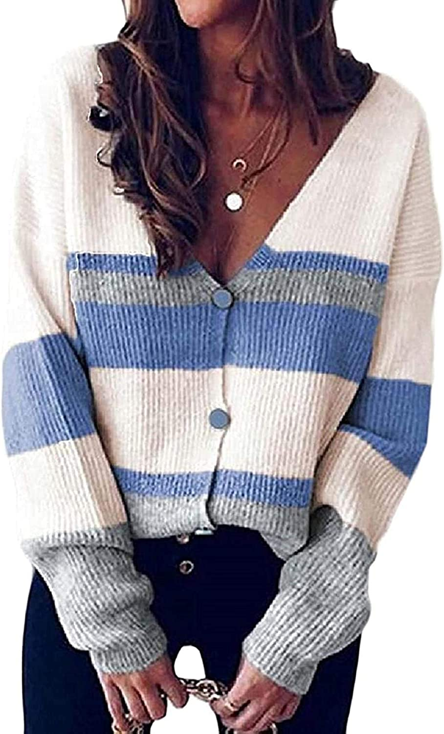 Zjeia Women's Fall Winter Color Stripe NEW before selling Same day shipping ☆ Knitted Blocked Print But