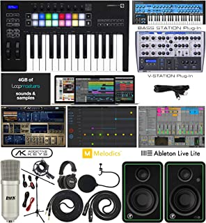 Novation Launchkey 25 MK3 USB MIDI Keyboard 25 Keys Controller with Software Pack of Ableton Live Lite and 4 GB of Loopmasters Sounds & Samples w/Mackie CR3-X Pair Studio Monitors & Instrument Cables