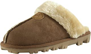 Womens Slip on Faux Fur Warm Winter Mules Fluffy Suede Comfy Slippers