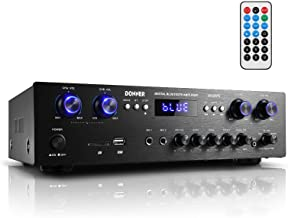 Donner Bluetooth 5.0 Stereo Audio Amplifier Receiver, 4 Channel, 440W Peak Power Home Theater Stereo Receiver USB, SD,FM, ...