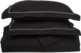 طقم غطاء لحاف أسود فائق النعومة وخفيف الوزن بنسبة 100% من الألياف الدقيقة المصقولة، توأم/مفرد XL، مقاوم للتجاعيد، مع أغطية...
