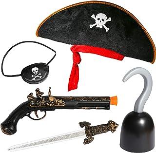 لوازم جانبی دزدان دریایی PROLOSO برای کودکان و نوجوانان هالووین لباس کارائیب برای دختران دختران Buccaneer Dress Up Cosplay Stage Props Imaginative Play Kit اسباب بازی