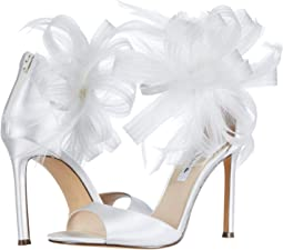 White Crystal Satin/Mesh/Feather
