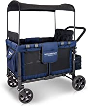 WonderFold Baby Multi-Function Four Passenger Wagon Folding Quad Stroller with Removable Reversible Canopy & Seats up to 4 Toddlers, Navy