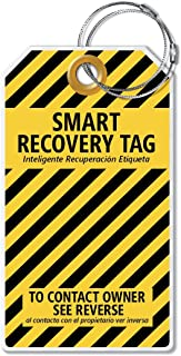 Dynotag Web Enabled Smart ID Tag, PROTAGZ Series MEGA Size Luggage Tag w. Double Steel Loops with DynoIQ & Lifetime Recove...