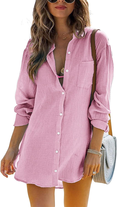 Womens Cotton Button Down Tunic Shirts Long Sleeve Spread Collar Casual Summer Lightweight Long Blouse Top