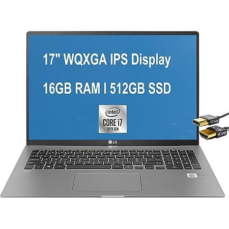 "Flagship 2021 LG Gram 17 Thin and Light Laptop 17"" WQXGA IPS Display 10th Gen Intel Quad-Core i7-1065G7 16GB RAM 512GB SSD Fingerprint Backlit Thunderbolt Win 10 Gray + HDMI Cable"