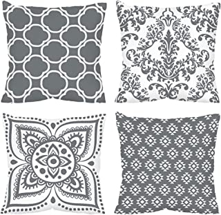 Vineland Boho Pillow Covers Set of 4 18x18 Inch Bohemian Mandala Theme Farmhouse Decorative Throw Pillow Covers for Couch ...