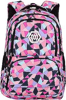 SellerFun Girl Women Flower Printed Waterproof Rucksack Backpack School Bag Bookbag (35L, Style B Black)