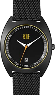 Roue Cal Four Men's Watch, 1930s Racing Style, 41.5mm Sand Blasted Stainless Steel case, Silicone + Nylon Front/Leather Back, Sapphire Crystal with Anti-Reflective Treatment Glass