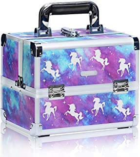 Joligrace Makeup Train Case for Girls Cosmetic Box - 2 Trays Key Lock Makeup Box Jewelry Storage Organizer with Mirror (Unicorn)