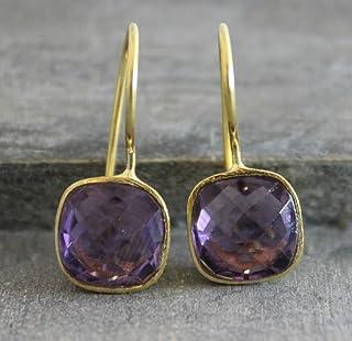 1d4729c02 Cushion Cut Amethyst Gemstone Gold Plated 925 Sterling Silver Earrings  Bridal Wedding Jewellery