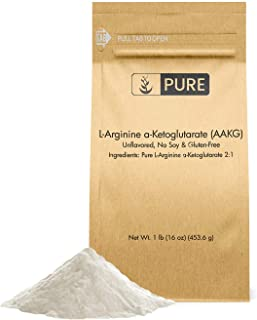 Pure L-Arginine a-Ketoglutarate (AAKG) Powder, 1 lb, 2000 mg Serving, High Value & Quality Preworkout, Unflavored, No Glut...