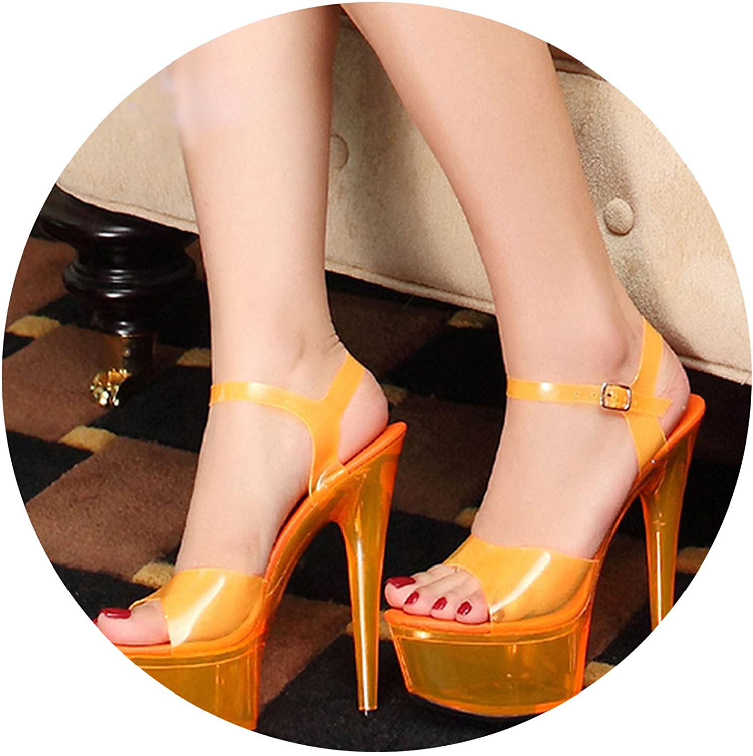 New-Loft-Women Designer Peep Toe Flat Crossdressed shoes Stripper Double Strap Sandals Plus Size Sexy High Heels Platform 11 Glass