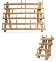 Houten klossenrekken - Set van 2   60 + 12 spoelen   Garenhouder & Brothread Stand   Opslag van borduurgaren   Naaigaren e...