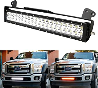 iJDMTOY White/Amber 20-Inch 120W LED Light Bar Kit For 2011-2016 Ford F250 F350 Super Duty, Includes (1) High Power LED Lightbar, Lower Bumper Grille Mount Brackets & Relay Wiring On/Off Switch
