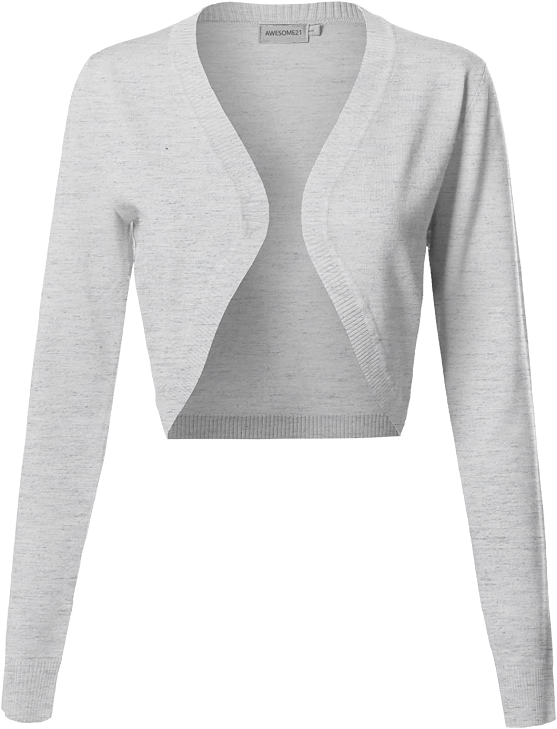 Awesome21 Women's Viscose Solid Office Soft Stretch Long Sleeve Bolero Cardigan