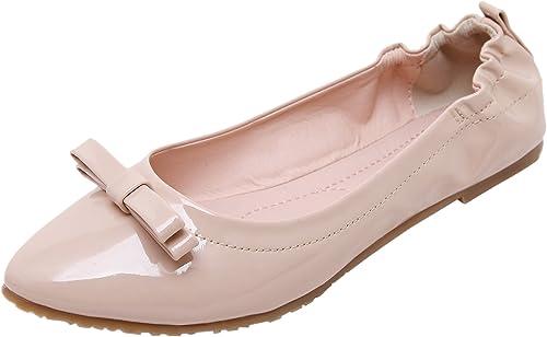 DQQ Damen Spitze Schleife-Flache Schuhe
