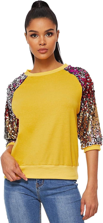Romwe Women's 3/4 Sequin Flare Sleeve Crew Neck Fashion Pullovers Sweatshirt