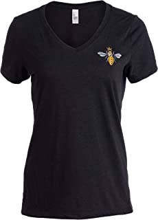 Embroidered Queen Bee | Funny Cute Cool Boss Lady Crown Top Women's V-Neck T-Shirt