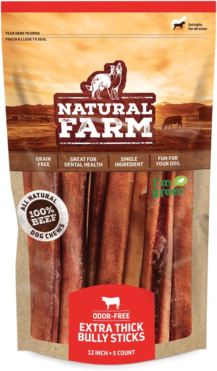 Natural Farm Odor Free Jumbo Bully Sticks, Extra Thick 100% Beef - Made & Packaged at Our Own Food-Grade Facility - Fully Digestible High Protein Chews