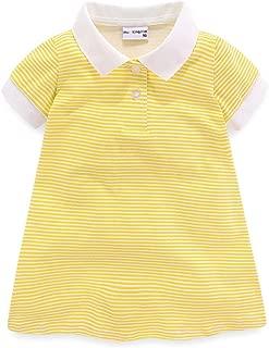 Mud Kingdom Little Girls Dresses with Collar Short Sleeve Stripe