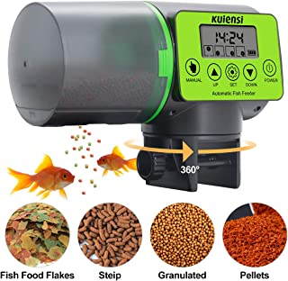 KUIENSI Automatic Fish Feeder, Vacation Fish Food Dispenser for Aquariums with Moisture-Proof System, Accurate Feeding Suitable for Granulated Flakes and Other Fish Foods