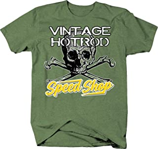 Devil Vintage Speed Shop Skull Crossbones Yellow Racing Garage T Shirt for Men