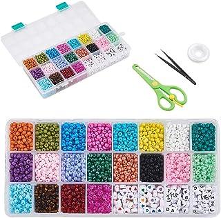 Stiesy 1 Box DIY Jewelry Making Tool Kit Mini Seed Beads Mixed 6/0 Jewelry Beading Making with Acryllic Beads Beading Twee...